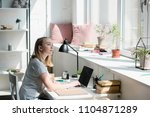 thoughtful teen student girl... | Shutterstock . vector #1104871289