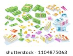 collection of isometric cash... | Shutterstock .eps vector #1104875063