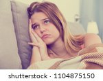 portrait of young woman sad and ... | Shutterstock . vector #1104875150