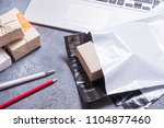 poly plastic mailer mailing... | Shutterstock . vector #1104877460