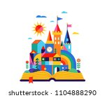 open book with geometric fairy... | Shutterstock .eps vector #1104888290