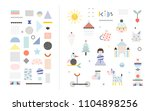 set of cute shapes and baby... | Shutterstock .eps vector #1104898256