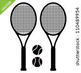 tennis racket silhouettes vector | Shutterstock .eps vector #110489954