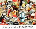 coolage mood board with a food... | Shutterstock . vector #1104902330
