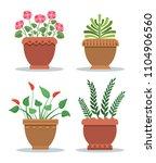 indoor plants leafy with... | Shutterstock .eps vector #1104906560