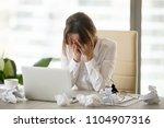 stressed tired businesswoman... | Shutterstock . vector #1104907316