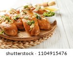 plate with delicious homemade... | Shutterstock . vector #1104915476