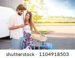 smiling love couple  with... | Shutterstock . vector #1104918503