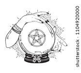 hand drawn magic crystal ball... | Shutterstock .eps vector #1104920000