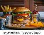 delicious burgers with beef ... | Shutterstock . vector #1104924800