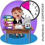 worried businesswoman deadline... | Shutterstock .eps vector #1104939269
