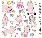 Stock vector cartoon cute white cat unicorns funny caticorn kittens vector set character funny animal kitten 1104939599