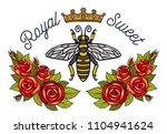 Bee Crown Flowers Embroidery...