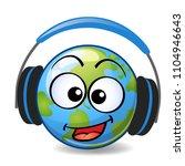 cartoon earth with headphones  | Shutterstock .eps vector #1104946643