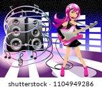 woman rockstar performing live | Shutterstock .eps vector #1104949286