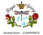 dragonfly  spring  roses  crown ... | Shutterstock .eps vector #1104949823