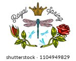 dragonfly  spring  roses  crown ... | Shutterstock .eps vector #1104949829