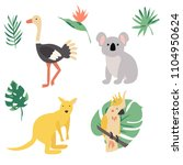 fauna of australia. vector...   Shutterstock .eps vector #1104950624