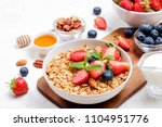 serving option of granola bowl... | Shutterstock . vector #1104951776