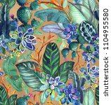 tropical seamless pattern with ... | Shutterstock . vector #1104955580