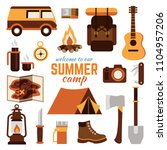 summer camping elements flat... | Shutterstock .eps vector #1104957206
