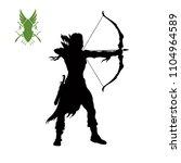 black silhouette of elven... | Shutterstock .eps vector #1104964589