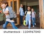 group of elementary school... | Shutterstock . vector #1104967040