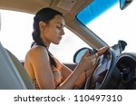 Woman Driver Sitting Behind The ...