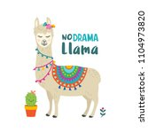 cute cartoon llama vector... | Shutterstock .eps vector #1104973820