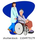 female nurse helping caring for ... | Shutterstock .eps vector #1104975179