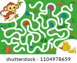help the monkey to rich the... | Shutterstock .eps vector #1104978659