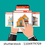 mobile smart phone with rent...   Shutterstock .eps vector #1104979709