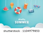 hello summer with decoration... | Shutterstock .eps vector #1104979853
