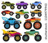 monster truck vector cartoon... | Shutterstock .eps vector #1104979943