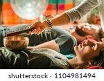 tibetan singing bowl in sound... | Shutterstock . vector #1104981494