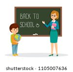 teacher and schoolboy on the... | Shutterstock .eps vector #1105007636