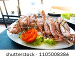 steamed blue swimming crab... | Shutterstock . vector #1105008386