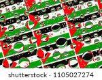 flags  of western sahara ... | Shutterstock . vector #1105027274