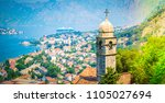 kotor bay and old church ... | Shutterstock . vector #1105027694