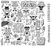 Super Heroes Funny Wacky Doodl...
