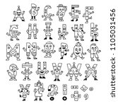 abc letters doodle characters.... | Shutterstock .eps vector #1105031456