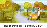 park  seller and cart with ice... | Shutterstock .eps vector #1105033589