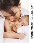 cute little girl sleeping in... | Shutterstock . vector #110503424