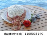 accessories for summer holidays ... | Shutterstock . vector #1105035140
