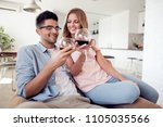 beautiful young couple with... | Shutterstock . vector #1105035566