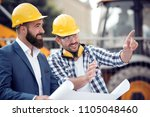 happy engineer discussing with... | Shutterstock . vector #1105048460