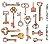 hand drawn set of different... | Shutterstock .eps vector #1105049009