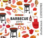 barbecue party invitation. bbq... | Shutterstock .eps vector #1105053983