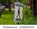 pedestrian crossing sign woods... | Shutterstock . vector #1105062914