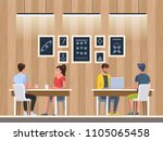 modern cafe with young people.... | Shutterstock .eps vector #1105065458